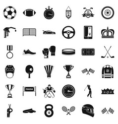 Champion icons set simple style vector