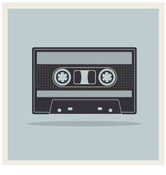 Audio compact cassette tape on retro background vector