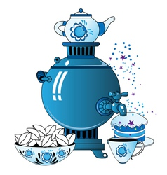 Samovar with tea cup cake vector