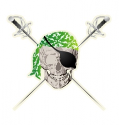 Pirate skull sticker vector