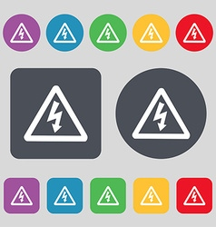 Voltage icon sign a set of 12 colored buttons flat vector