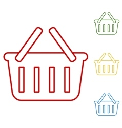 Shopping basket set of line icons vector
