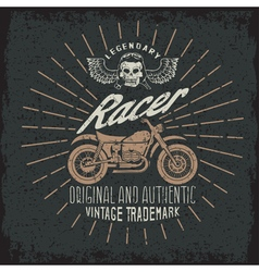 Racer grunge vintage print with motorcycle wings vector