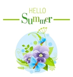 Summer icon with nature elements - viola flower vector