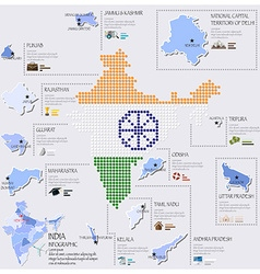 Dot and flag map of india infographic design vector