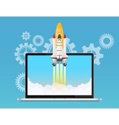 Web start up and development concept space rocket vector