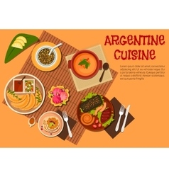 Argentine asado dishes with desserts flat icon vector