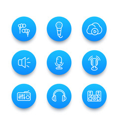 audio line icons set vector image vector image