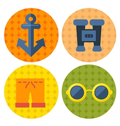 beach items icons in flat design vector image vector image