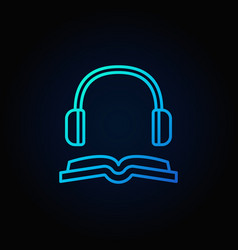 book with headphones blue icon vector image