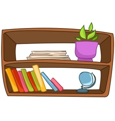 Cartoon home furniture book shelf vector