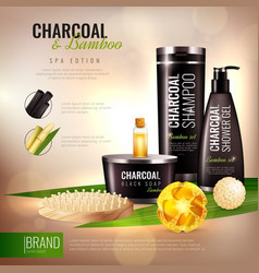 Charcoal and bamboo body cosmetics poster vector