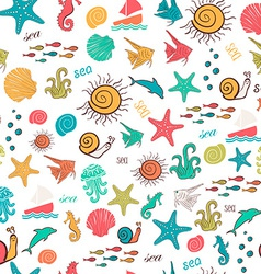 Colorful seamless pattern with sea marine vector image