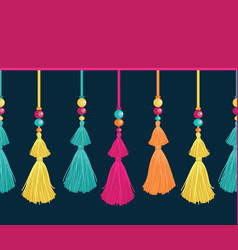 Colorful trim decorative tassels beads vector