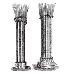 Columns engineering vintage engraving vector