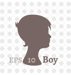 Dark silhouette profile of a young boy vector