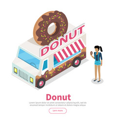 Donut conceptual isometric web banner vector