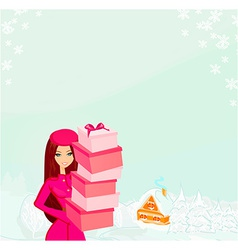 fashion shopping girl with gift box vector image vector image