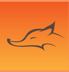 fox head sign in curve lines vector image