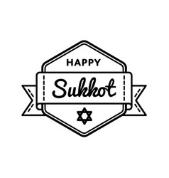 Happy sukkot day greeting emblem vector