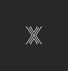 logo x letter medieval style monogram vector image