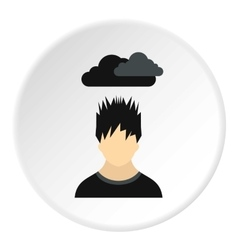 Male avatar and clouds over head icon flat style vector