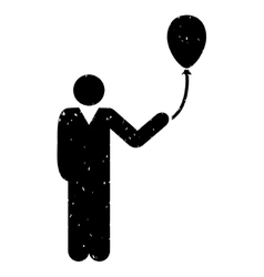 Man With Holiday Balloon Grainy Texture Icon vector image
