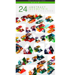 Mega collection of 24 low poly triangle abstract vector