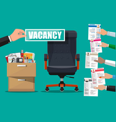 Office chair and sign vacancy in hand of boss vector