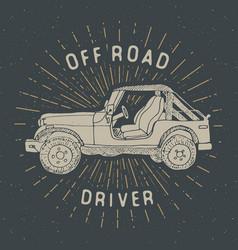 Offroad suv car vintage label hand drawn sketch vector