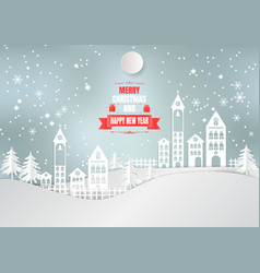 Paper art style city for christmas season with vector
