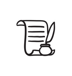 Paper scroll with feather pen sketch icon vector