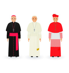 pope cardinal and bishop characters in vector image