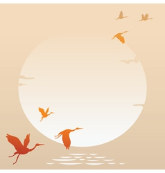 Sunset with flying bird vector