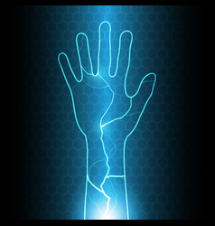 technology cyber security hand thunderbolt vector image vector image