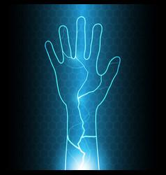 Technology cyber security hand thunderbolt vector
