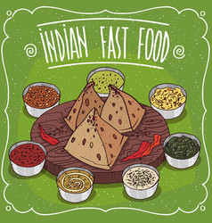 Traditional indian fast food samosa with sauces vector
