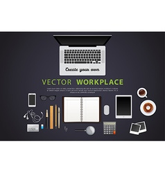 Workplace with isolated objects vector image vector image