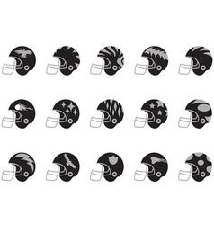 black football helmet set vector image