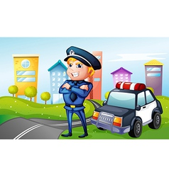 A smiling policeman at the road vector