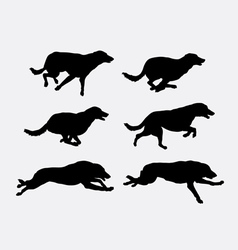 Dog running pet animal silhouette vector