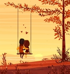 Boy and girl looking at the sunset romantic night vector