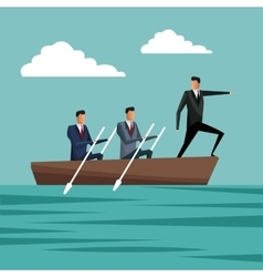 Business people paddling team work manager growth vector