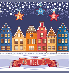 Christmas card joyeux noel decor vector