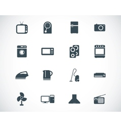 Black home icons set vector