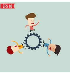 Businessman with gears - - eps10 vector