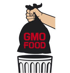 hand holding black plastic trash bag with GMO food vector image