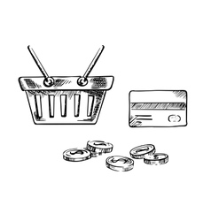 Shopping cart with credit card and coins vector