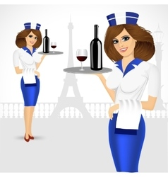 Waitress holding tray with bottle of wine vector