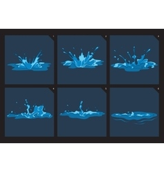 Blue water splashes frame set for game vector image